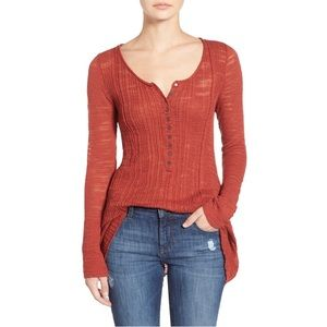 Free People Sheer Ribbed Henley Top